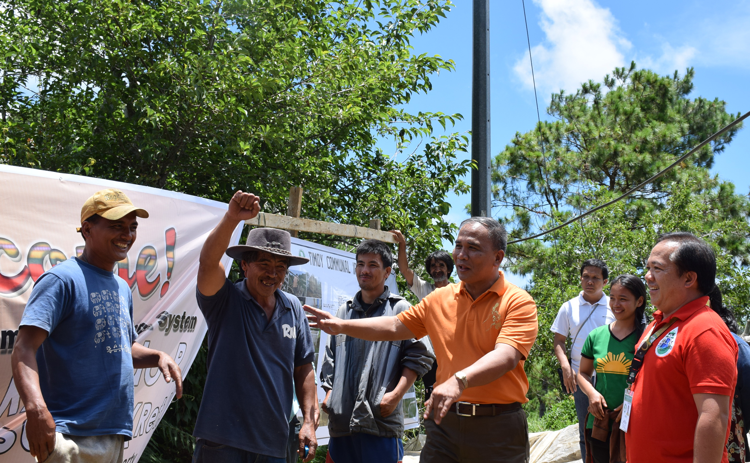 Irrigators' association members of Timoy CIS in Puguis, La Trinidad, Benguet are happy with the support of Gen. Ricardo Visaya (Ret.),  NIA's top official, during his visit to their irrigation system and vegetable farms on June 16.