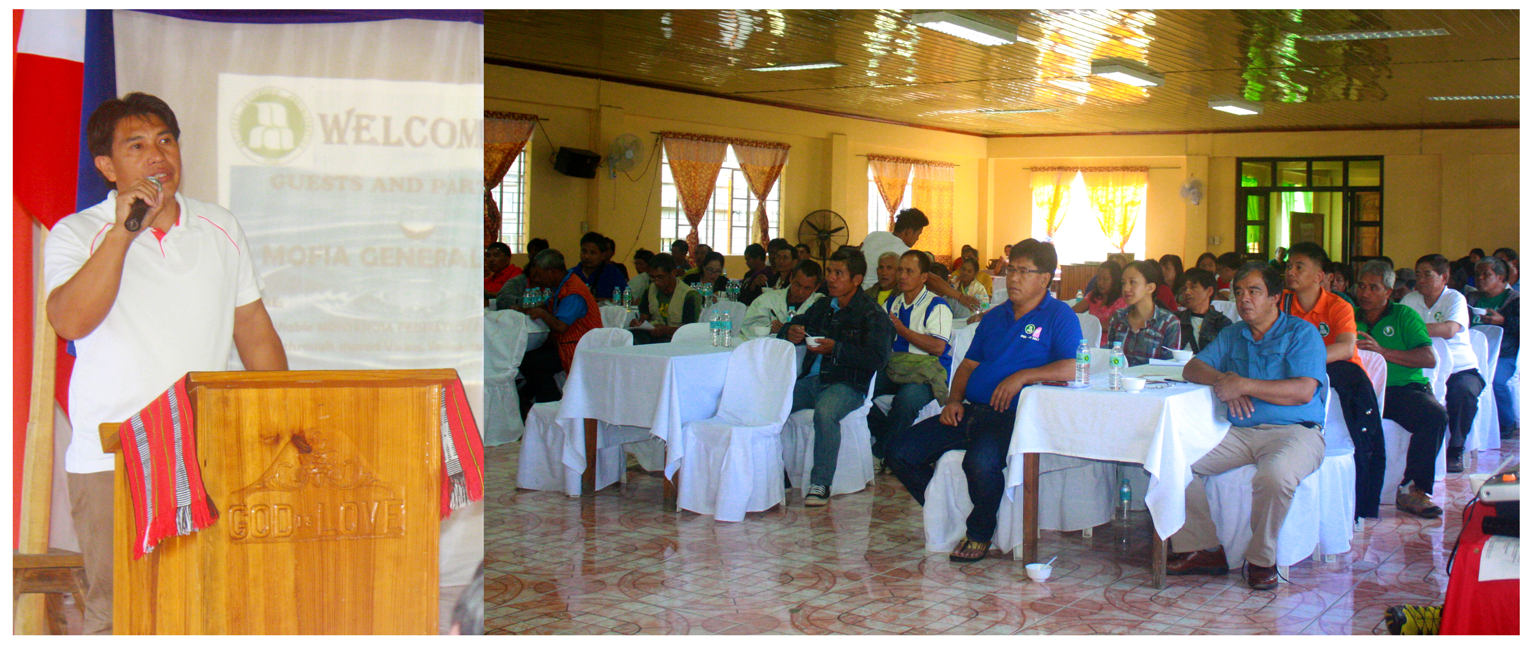Taloy Sur Irrigators' Association President Brian Ducat inspires his fellow irrigators of the Montañosa Federation of Irrigators Association in Mountain Province during their general assembly on February 23, 2018.