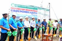 Officials of NIA, Chinese government, Province of Kalinga and Cagayan lead the groundbreaking ceremony of Chico River Pump Irrigation Project in Brgy. Pinococ, Pinukpuk, Kalinga on June 8, 2018.