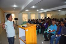 DA-CAR Regional Director Narciso Edillo lauds more than 150 farmer-leaders for being productive members of the community during the Benguet Farmers' Federation of Irrigators' Associations (BFFIA) general assembly on February 14. ​